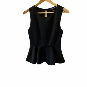 FOREVER 21 Black Peplum Cut Out Sleeveless Top S